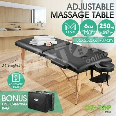 55CM 2 Fold Wooden Massage Table Portable Treatment Beauty Waxing Bed - Black