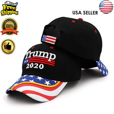 President  Donald Trump 2020 Hat Black USA Flag Make America Great Again Cap w7