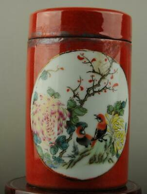 china old hand-made famille rose Porcelain Flower & bird patterna Cover pot c01