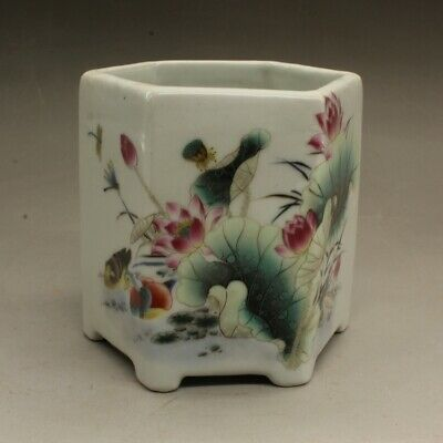 China old hand-carved porcelain famille rose lotus pond hexagonal brush pot c01