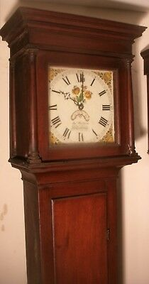 """Antique   Longcase / Grandfather  Clock With A  Painted Dial Signed """"Rystone """""""