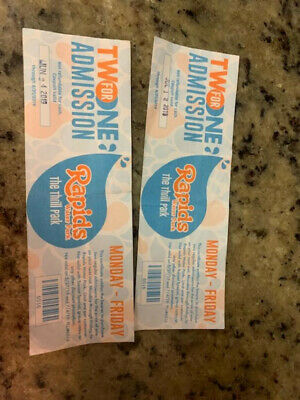 Rapids Water Park TWO FOR ONE Admission Tickets LOT OF 2