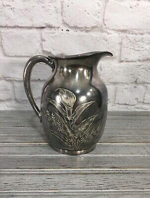 Antique Hartford Silver Plate Co. Quadruple Plate Calla Lily Pitcher