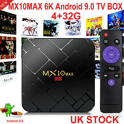 MX10 MAX Android 9.0 OS 4GB+32GB 6K UHD Quad Core TV BOX WIFI HDMI2.0 3D View UK