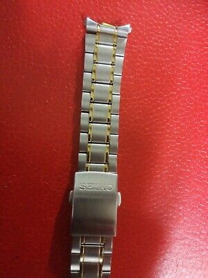 SEIKO 20MM  STAINLESS STEEL WATCH STRAP / BAND CURVED END silver and gold colour