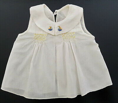 DELICATE, HANDMADE, SMOCKED & EMBROIDERED BABY TOP - VINTAGE 1960's