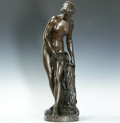 E.M.Falconet Bathing Bronze Sculpture 82 cm Ferdinand Barbedienne Paris