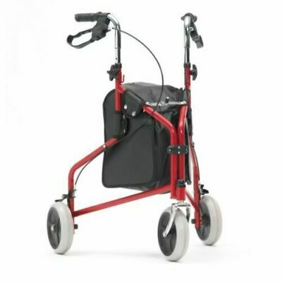 Assurance Mobility Easy Fold Tri Walker With Bag In Red With Loop Brakes