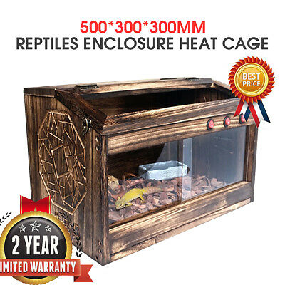 Wooden Reptile Enclosure Heating Cage Frog Snake Turtle Tank healthy environment