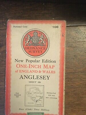 vintage cloth ordnance survey map of Anglesey North Wales . 1940s