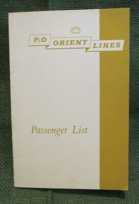 Circa 1962 P & O Orient Orcades Lines Passenger List  Booklet Printed In London.