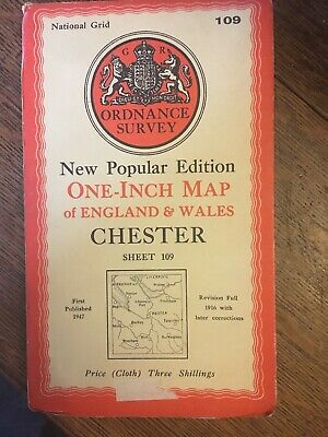 vintage cloth ordnance survey map of Chester Runcorn Wrexham Frodsham. 1940s