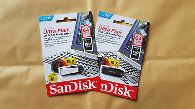 64GB Sandisk Ultra Flair USB 3.0 Flash Drive Pen PC Memory Stick ( 2 sticks )