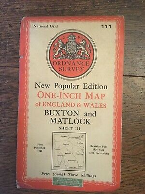 vintage cloth ordnance survey map of Buxton Sheffield Bakewell Derwent 1947