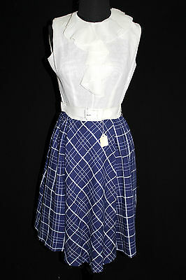 Vintage Deadstock 1960'S Cotton And Rayon Blue & White Dress & Jac Size 6