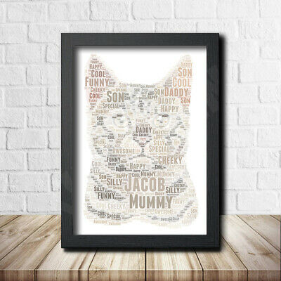 Cat 2 Pet Print Poster Word Art Gift Present Print Love Your