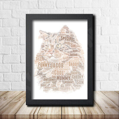 CAT 7 Pet Print Poster Word Art Gift Present Print love your cat gift