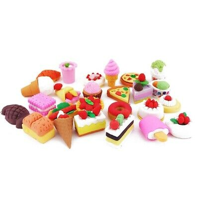 25PCS Pencil Erasers Assorted Food Cake Dessert Puzzle Toys Earsers For Kid K8D4