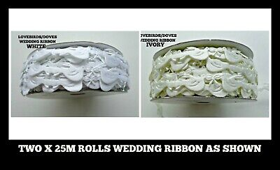 25M ROLL WHITE LASER CUT OUT DOVES TRIM RIBBON  wedding baby