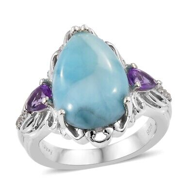 925 Sterling Silver Larimar Amethyst Promise Ring Jewelry Size 10 Ct 6.2