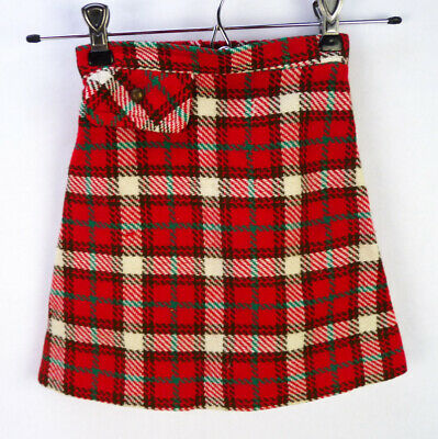 Vintage 70s Sears Red Plaid Mini Skirt Girls 5T 5 XS Winnie The Pooh Tag Woven
