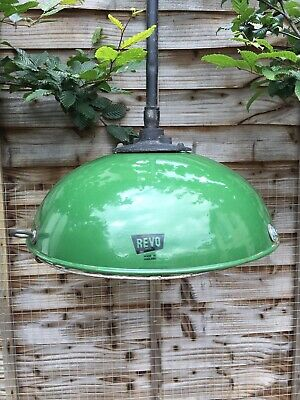 "Vintage Original 16 1/2"" Revo Enamel Barn Light"