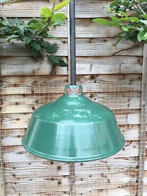 "Vintage Original 14 1/2"" Enamel Barn Light NOT REVO"