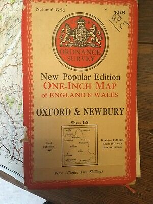 vintage cloth ordnance survey map Oxford Newbury Hungerford Witney 1947