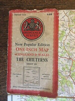 vintage cloth ordnance survey 1945 The Chilterns Windsor Marlow Thame