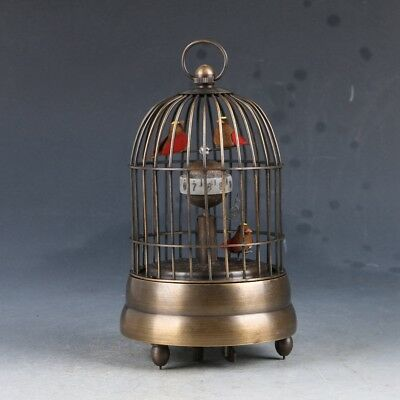 Vintage Collection Old Cruated Copper Hand Made Birdcage Mechanical Clock
