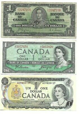 1937 1954 & 1973 Canada Canadian 1 ( One ) Dollar Bank Notes - Lot Of 3