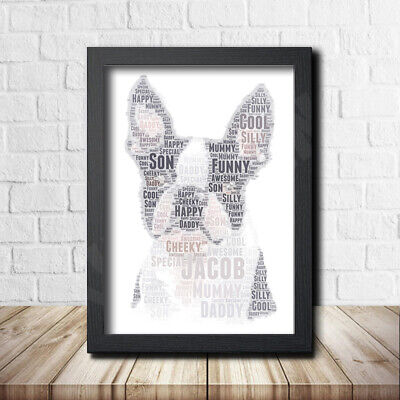 French Bulldog 1 Nature Pet Print Poster Word Art Gift Present Print Love Dog