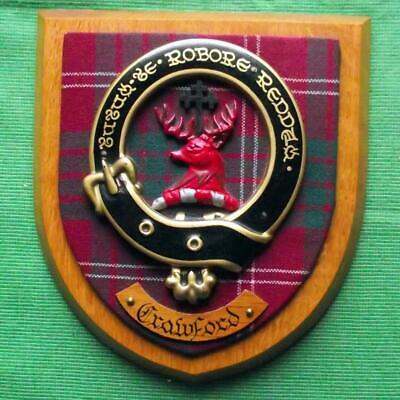 Vintage Old Scottish Carved Oak Clan CRAWFORD Tartan Plaque Crest Shield x
