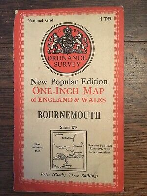 vintage cloth ordnance survey map  New Forest Bournemouth Poole Dorset  1947