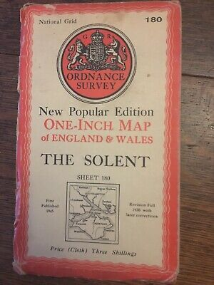 vintage cloth ordnance survey map 1947 Portsmouth Southampton Solent Isle Wight