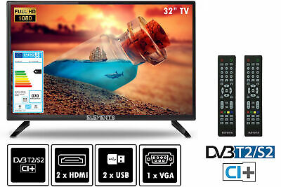 "Elements Fernseher LED TV 32"" Zoll Full HD DVB-T2/S2 inkl. Wall Mount 2x Remote"
