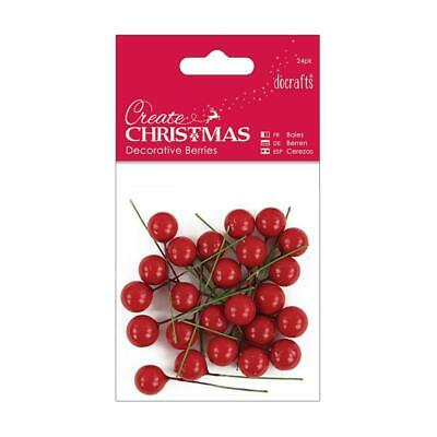 24 x Wired Red Berries - Artificial Berry - Wreath - Christmas Garland - Holly