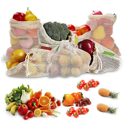 Premium Reusable Mesh Produce Bag, Eco-Friendly Cotton Grocery Shopping, 3 sizes