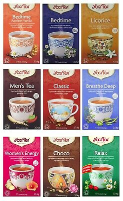 Yogi Tea Ayurvedic Organic Herbal 17 Teabag Sachets Caffeine Free Choose Flavour