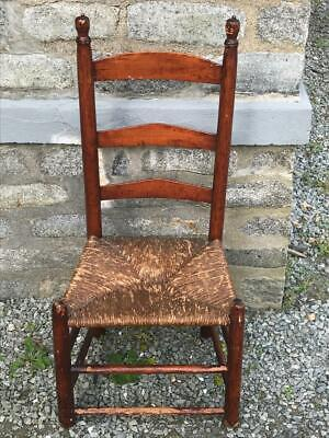 Antique Shaker Ladder Back Chair Rush Seat Acorn Finials 1800s 1900s