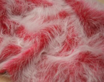 LONG Pile Fun Faux Fur Fabric Material - CERISE PINK FROST