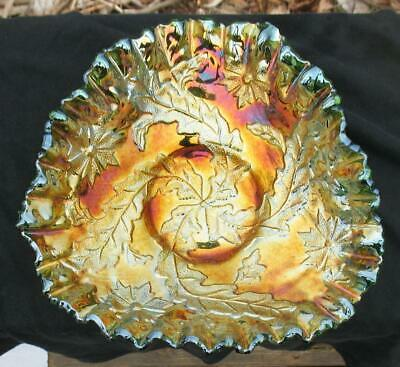 "Millersburg  ""Whirling Leaves""  Green Carnival Glass Tri-Shaped Bowl"