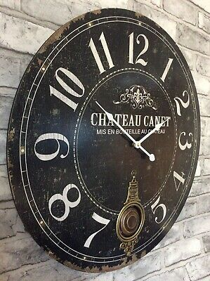60cm Extra Large Antique French Vintage Style Pendulum Wall Clock
