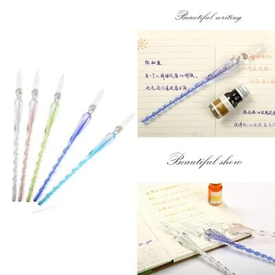 creative crystal glass pens dipped in ink, writing boxes, sets, antique, ha U6P9