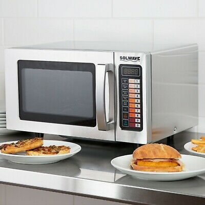 Heavy Duty Stainless Commercial Microwave Oven with Push Button Controls, 1000W