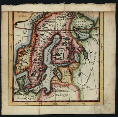 Scandinavia Swedish Empire Norway Sweden Livonia Laponia 1758 Buffier map