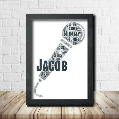Microphone 2 Sign Print Poster Word Art Gift Present Print Birthday Music Song