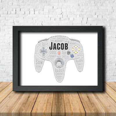 N64 Controller 1 Sign Print Poster Word Art Gift Present Print Birthday Game