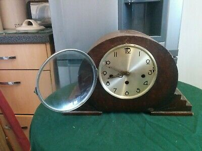 "Genuine Vintage 20/30""s Art Deco Mantle Clock for restoration, pendulum movement"