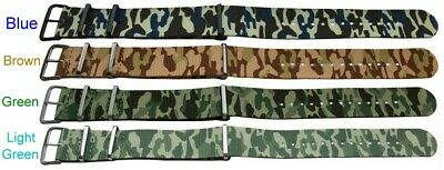 Camouflage Military Army Fabric Canvas Watch Strap Green Brown Blue 18mm - 24mm
